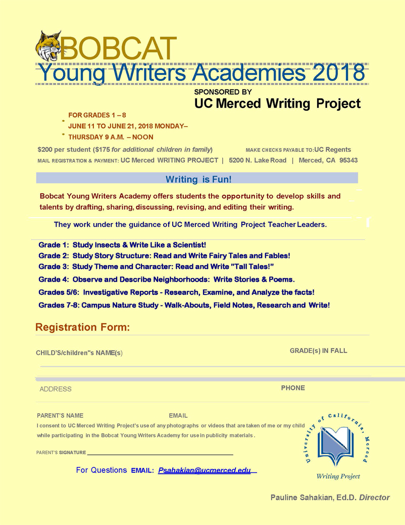 Bobcat Young Writers Academies 2018