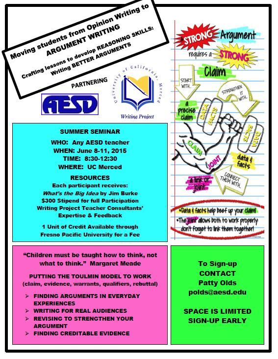 AESD Summer Seminar - Argument Writing