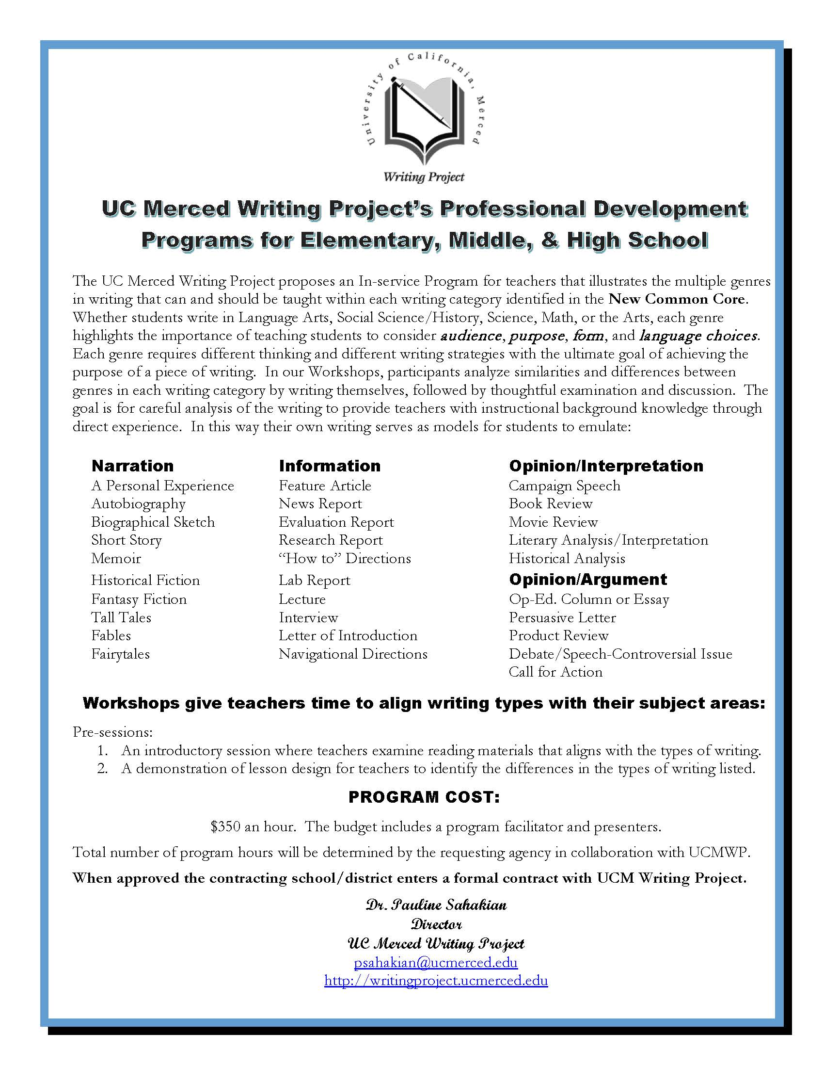 UC Merced Writing Project Presents Professional Development Workshops on Common Core